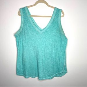 a.n.a. Turquoise V-neck distressed washout tank